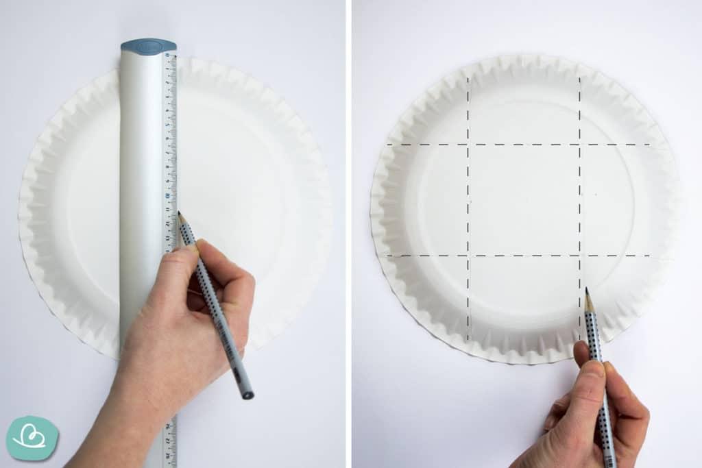 Markierungen am Pappteller anzeichnen.
