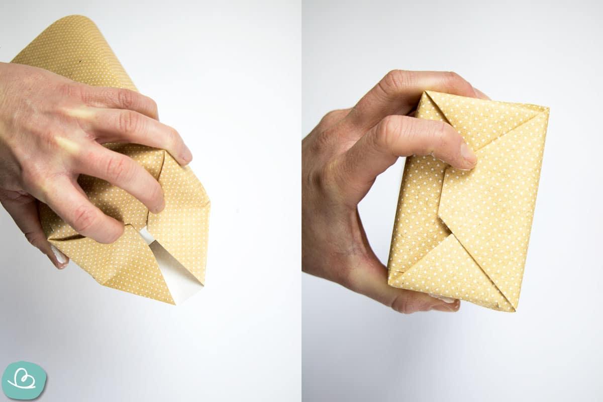 Milchkartonboden mit Papier einschlagen
