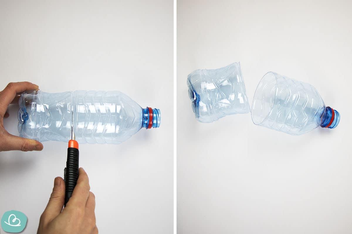Zerteilen einer PET Flasche