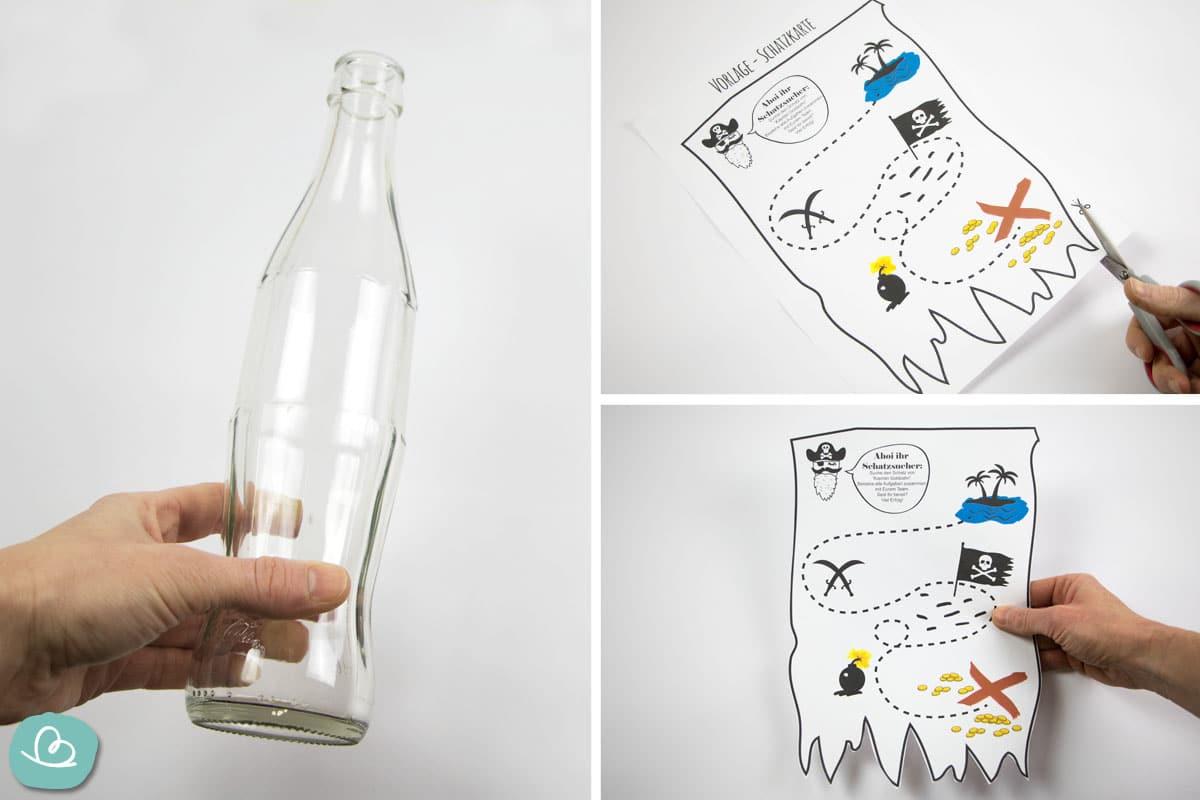 leere Flasche und Schatzkarte