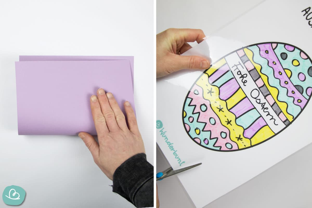 Tonpapier falten und Ausmalbild auschneiden