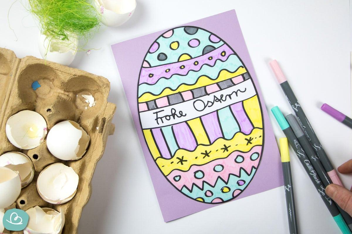 Osterkarte basteln mit Ausmalbild Osterei