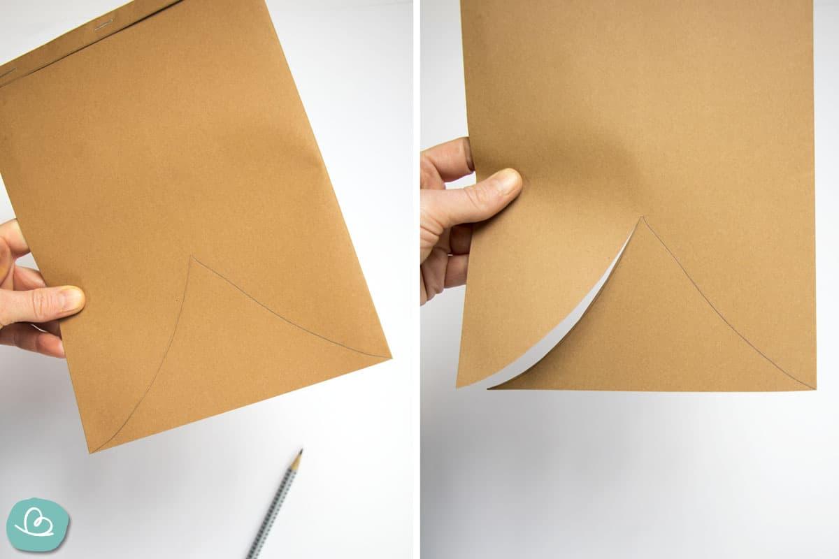 Form ausschneiden aus braunen Papier