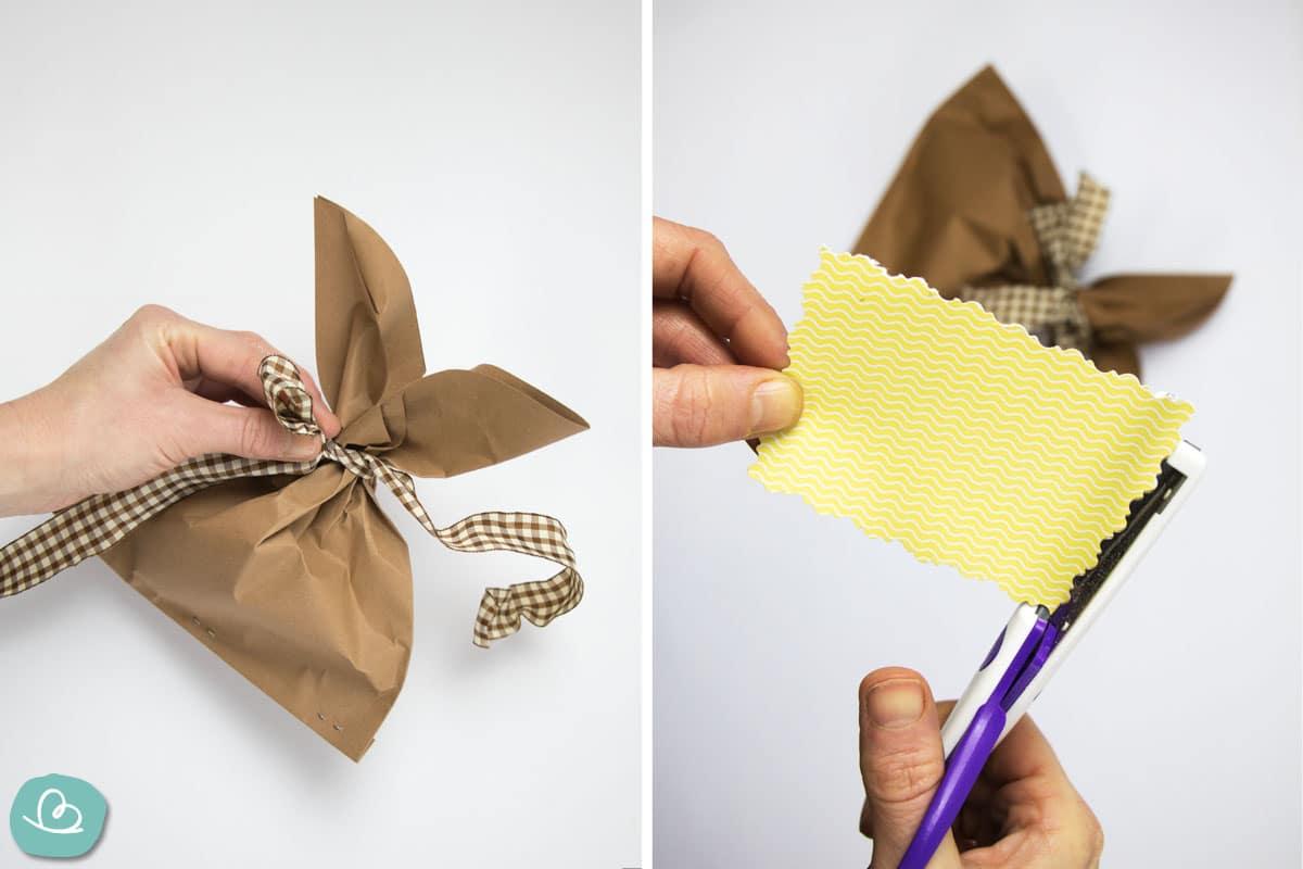 Schleife binden und Schild ausschneiden