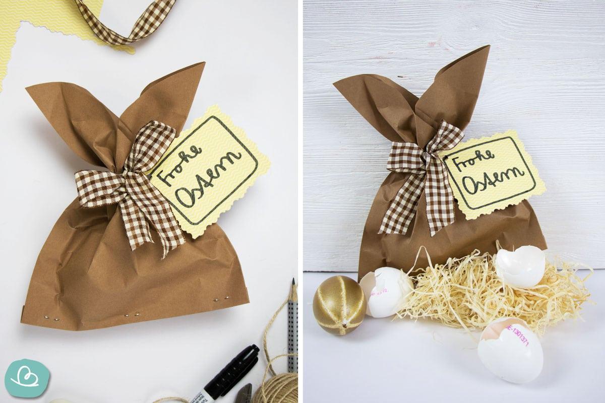 Osterhase aus Papier Verpackung zu Ostern