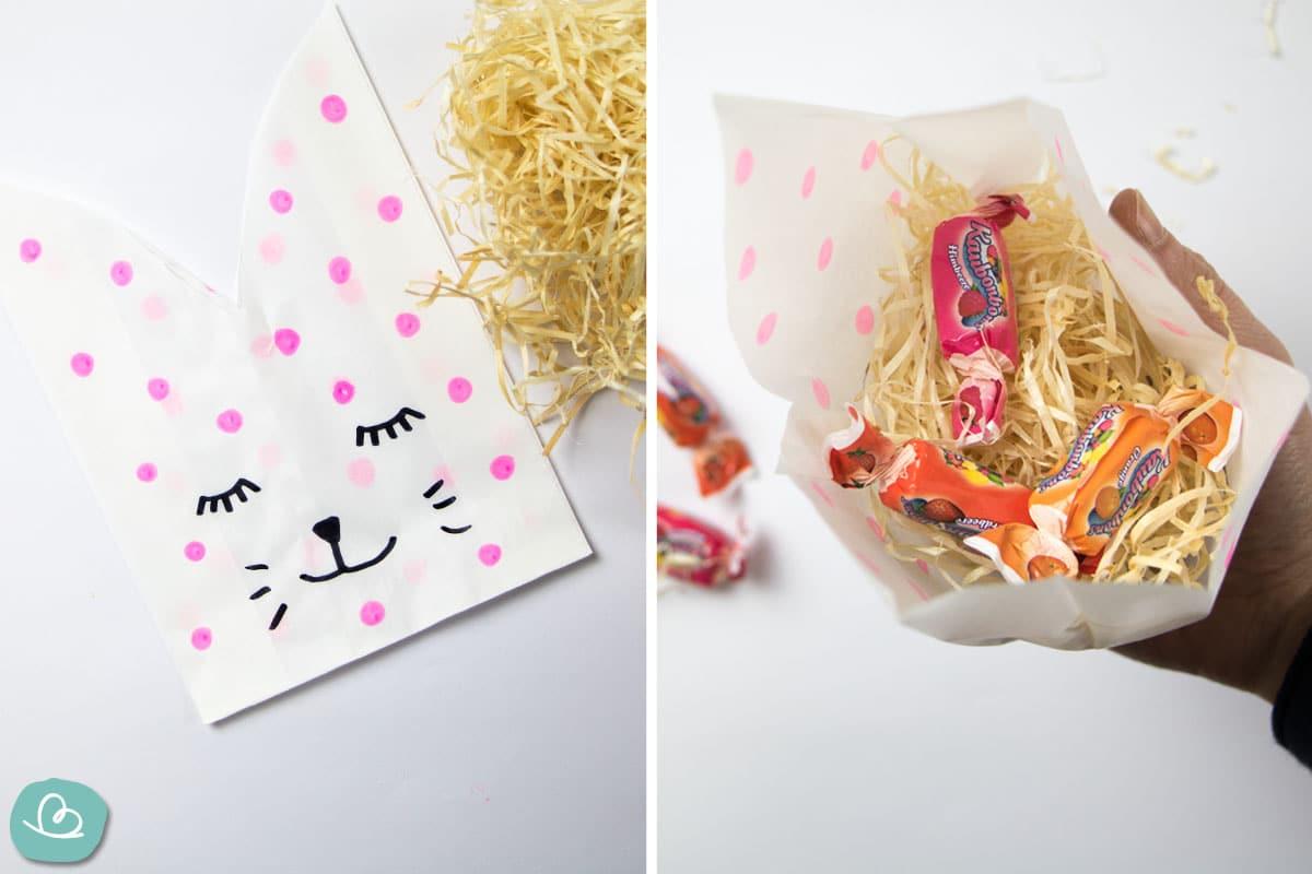 Papiertüte mit Bonbons füllen