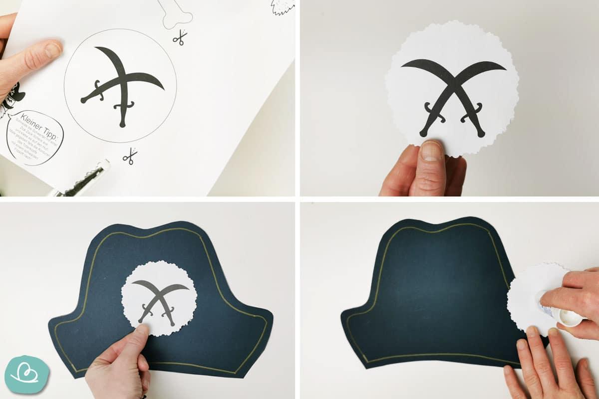 Säbelsymbol auf Piratenhut kleben