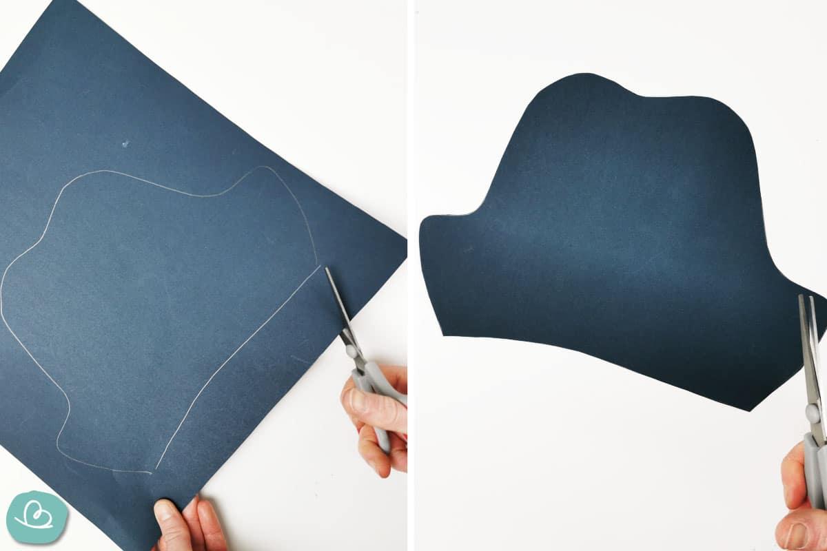 Vorlage aus schwarzen Tonpapier ausschneiden