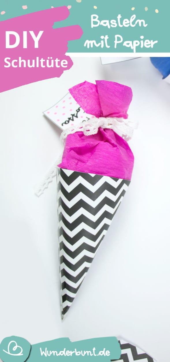 Schultüte basteln , Basteln mit Papier, Minischultüte