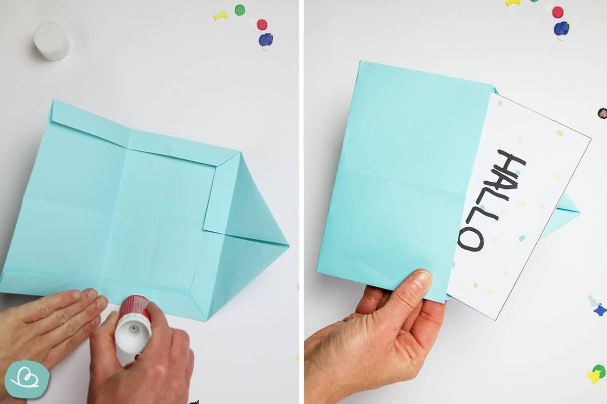 Briefumschlag verkleben mit Leim