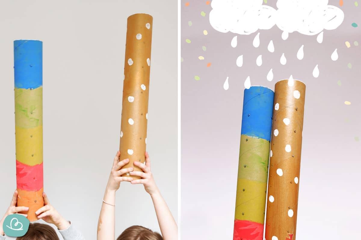 Regenmacher mit Kindern basteln