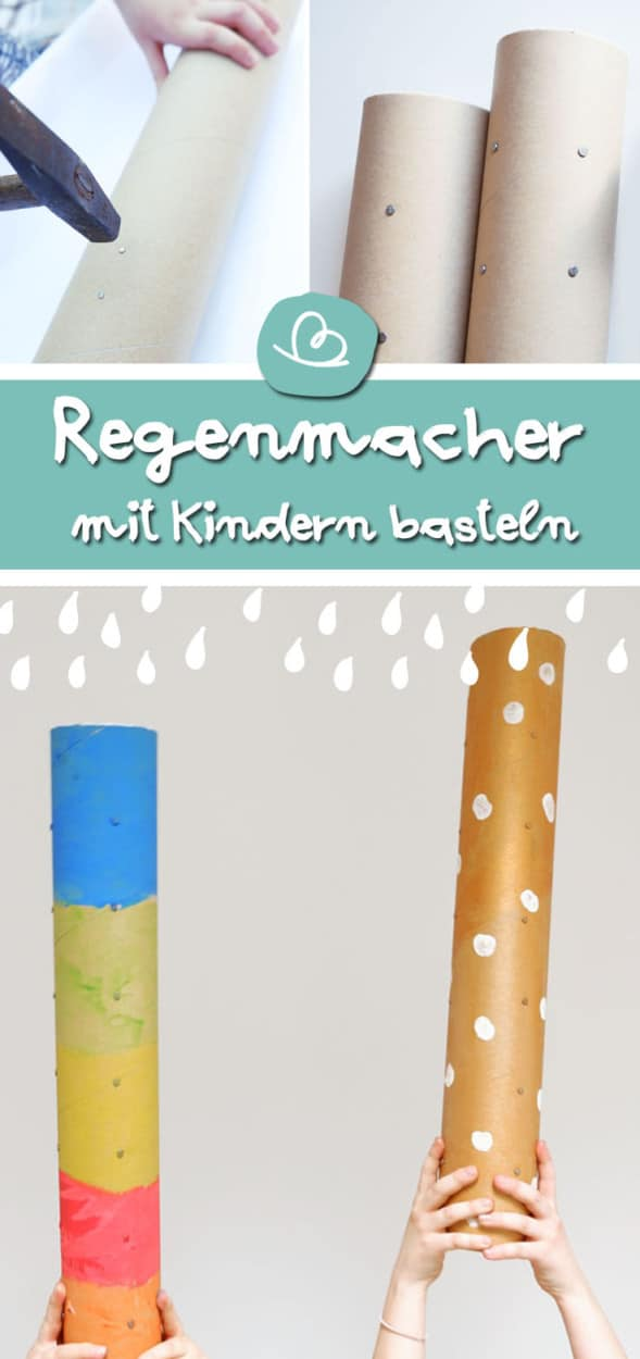 Regenmacher basteln mit Kindern Pinterest