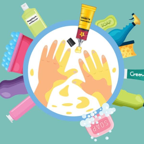Sekundenkleber von Haut, Hand und Fingern entfernen
