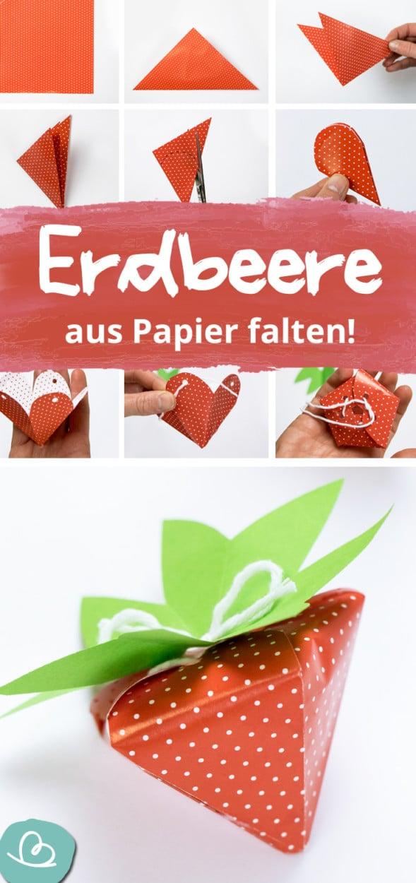 Erdbeere aus Papier falten Pinterest