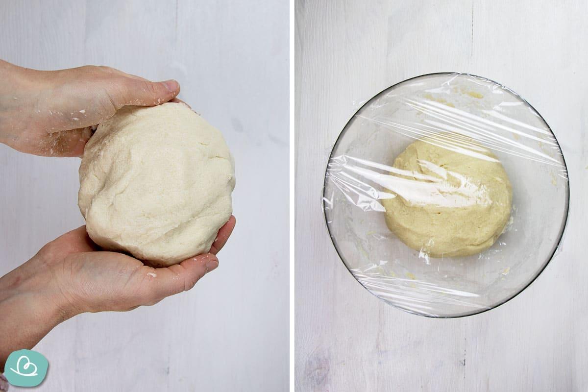 Salzteig geformt und abgedeckt