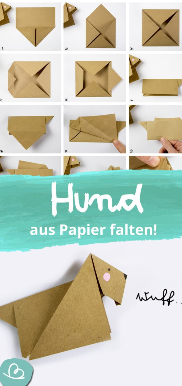 Origami Hund falten Anleitung Pinterest