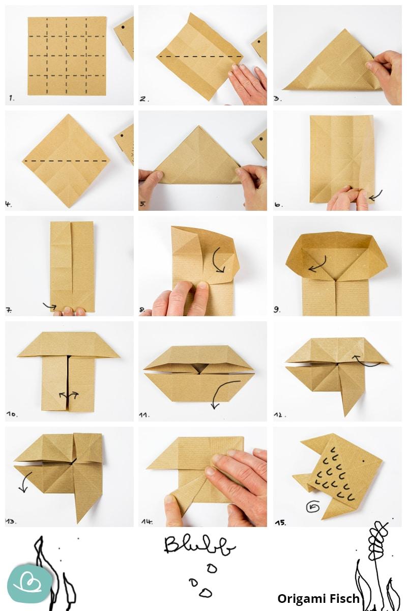 Faltanleitung Origami Fisch Blubb