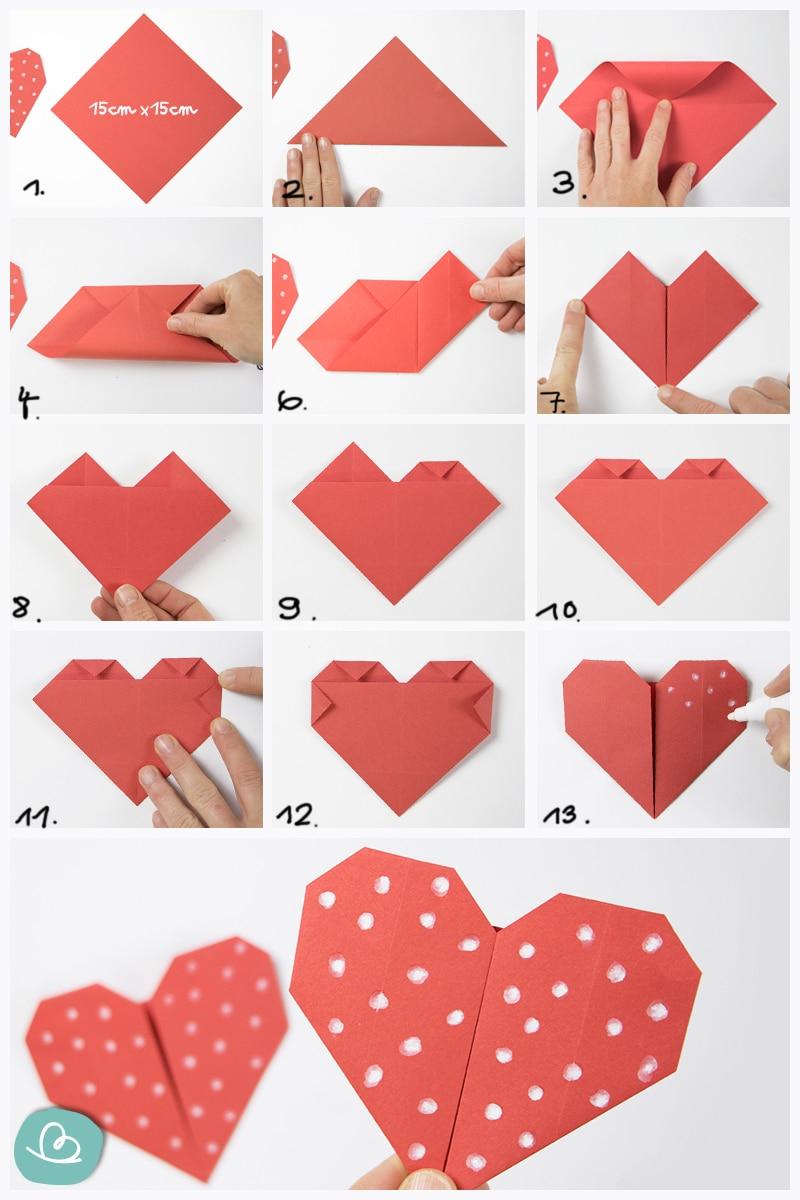 Origami Herz Faltanleitung