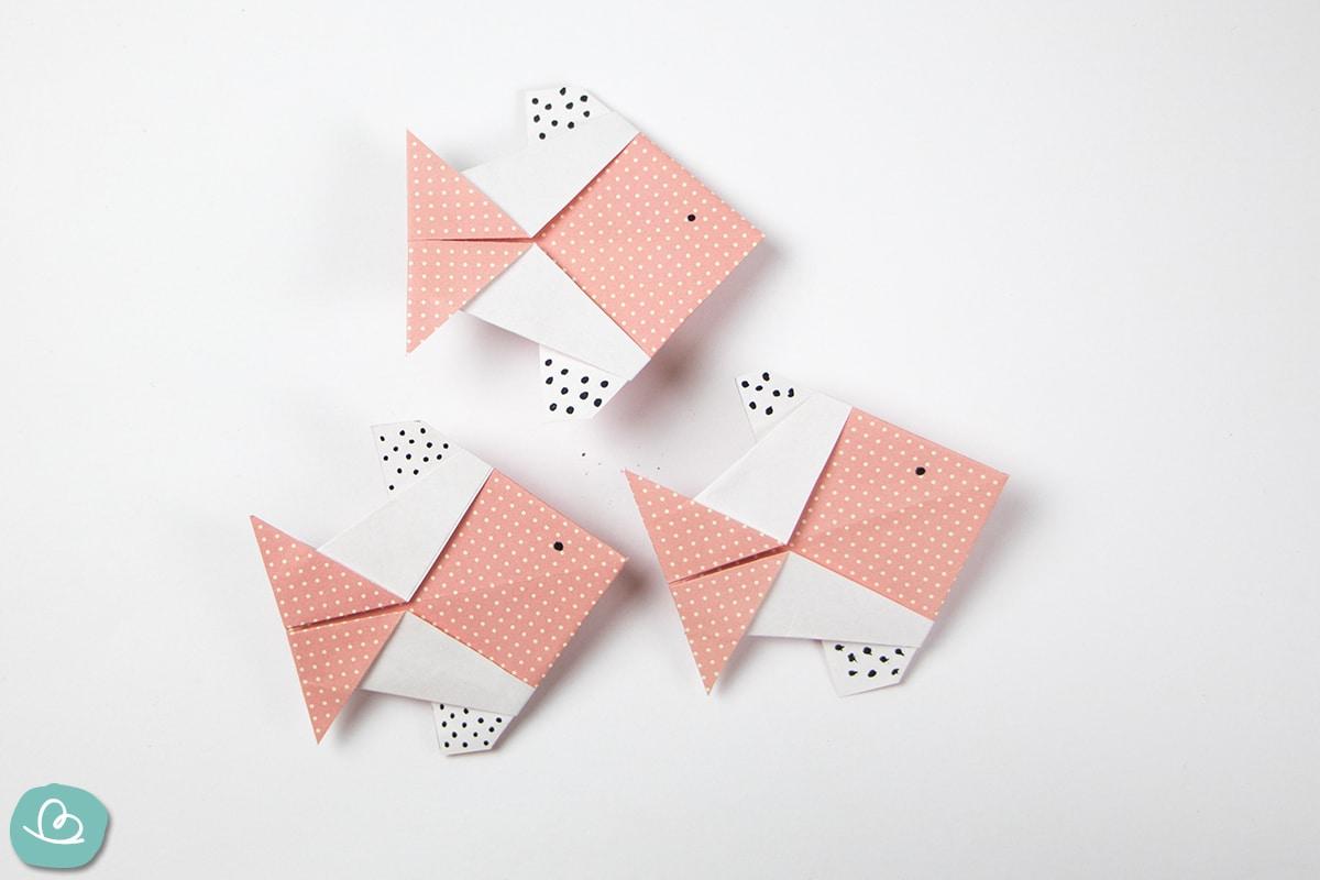 """Origami Fisch """"Rosa"""": Anleitung mit PDF Vorlagen"""