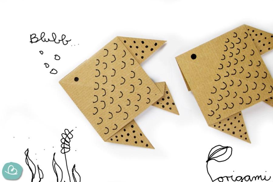 Origami Fisch 'Blubb' falten: einfache Anleitung