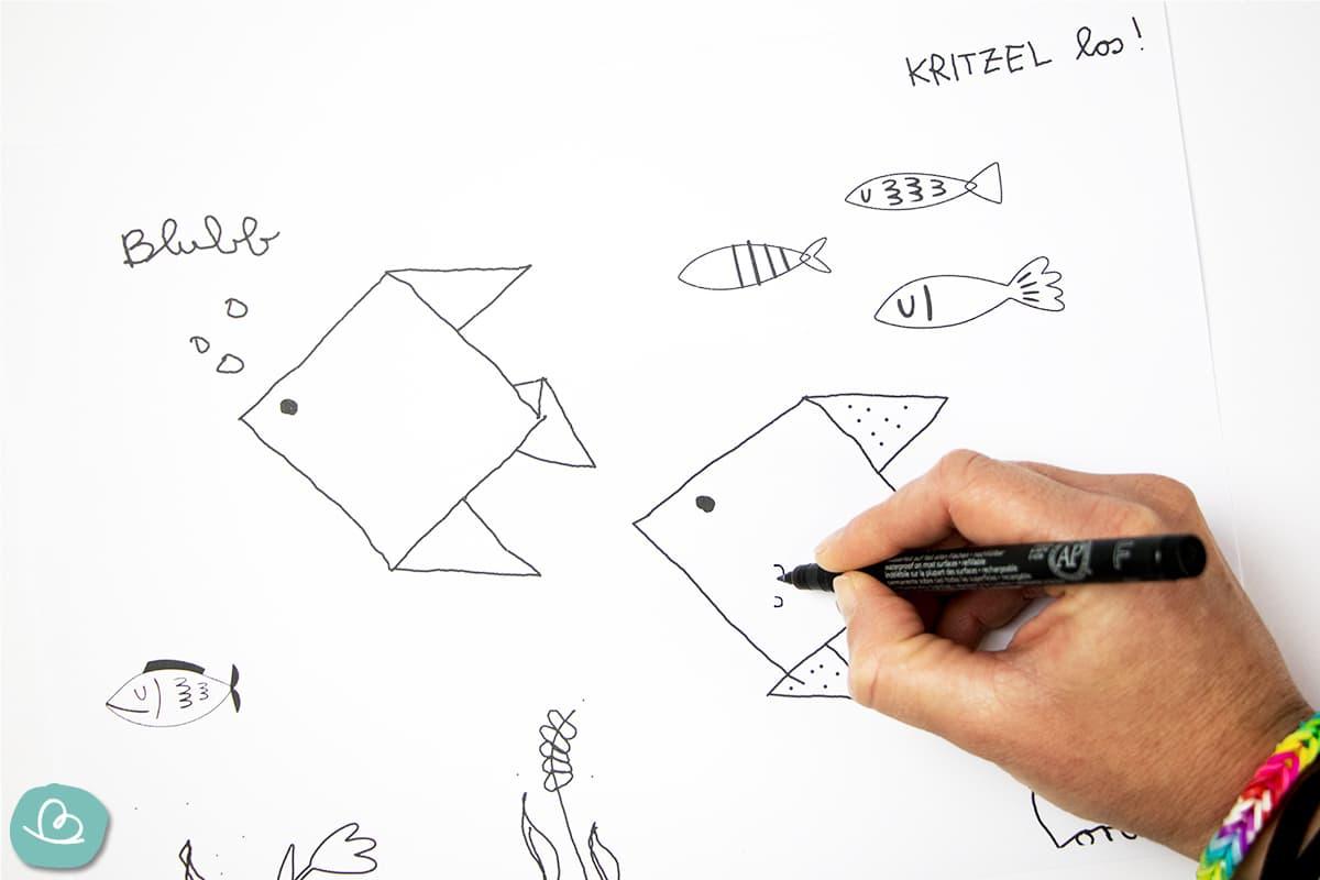 Kritzel Vorlage Fische Unterwasser