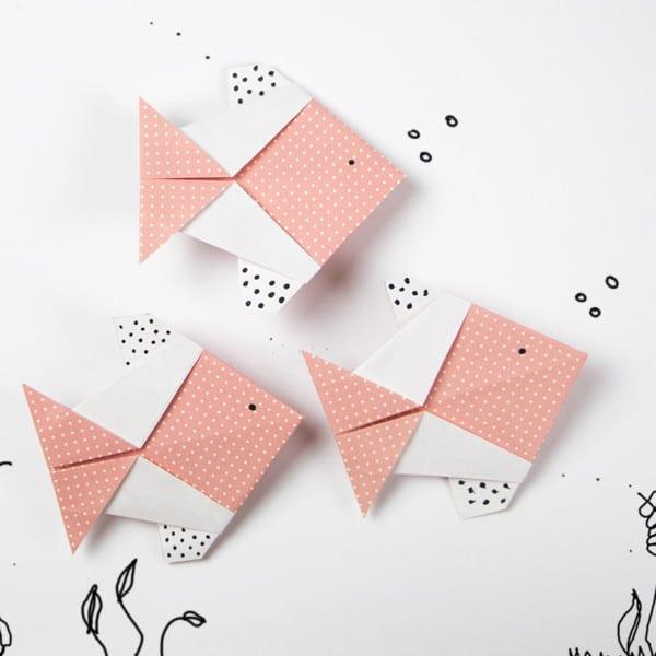 Origami Fisch Faltanleitung und Vorlagen