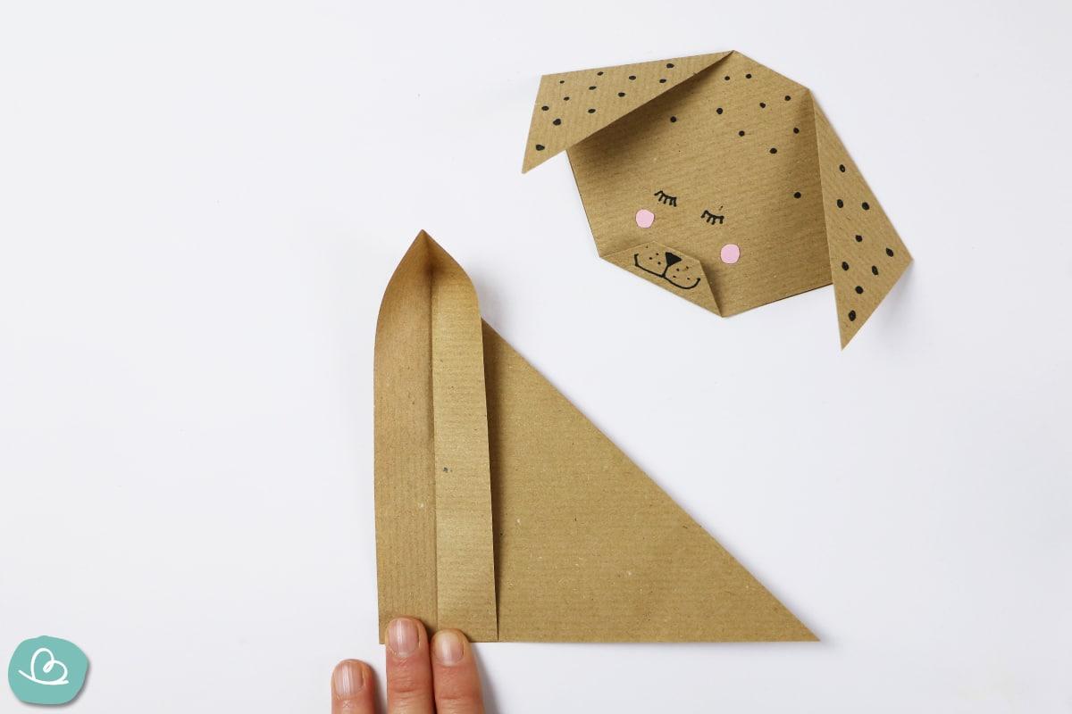 Längsfaltung Origami Hund