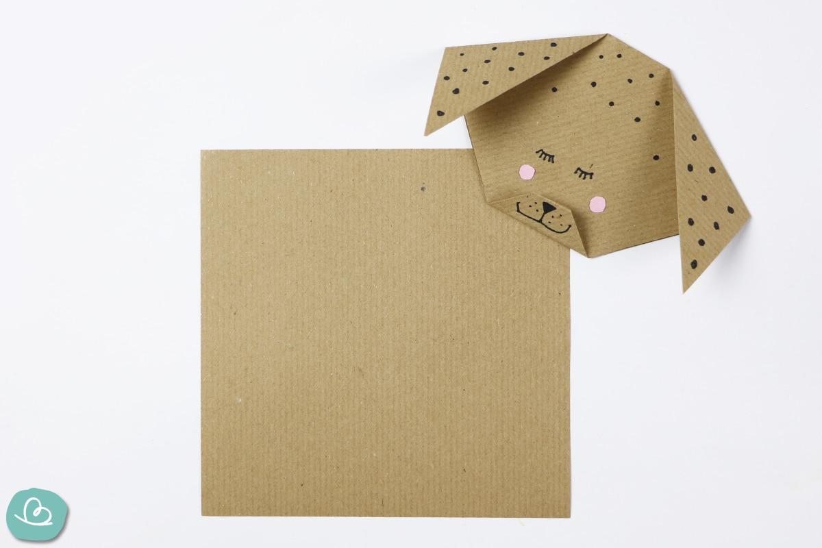 Origami Papier und Hundekopft