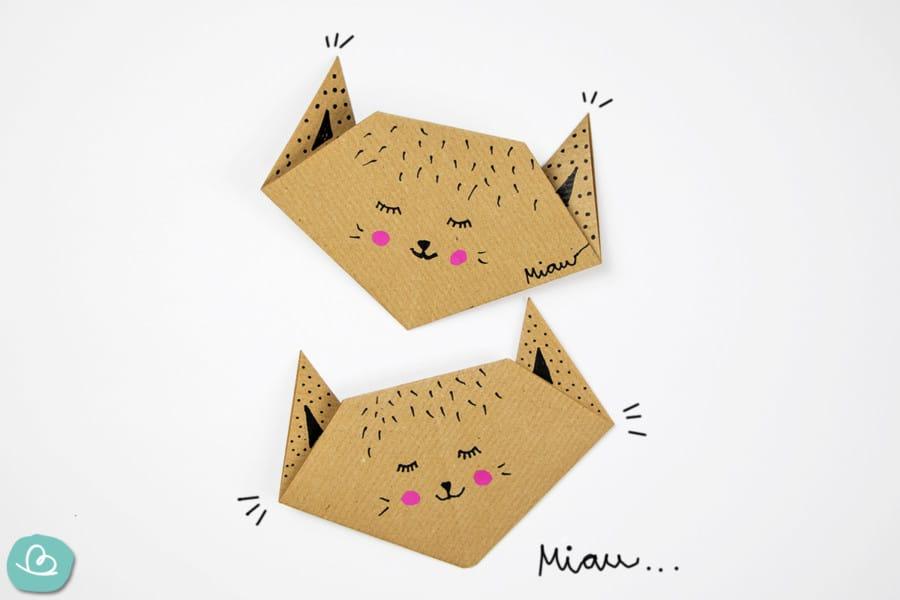 Origami-Katze 'Miau' falten: einfache Anleitung