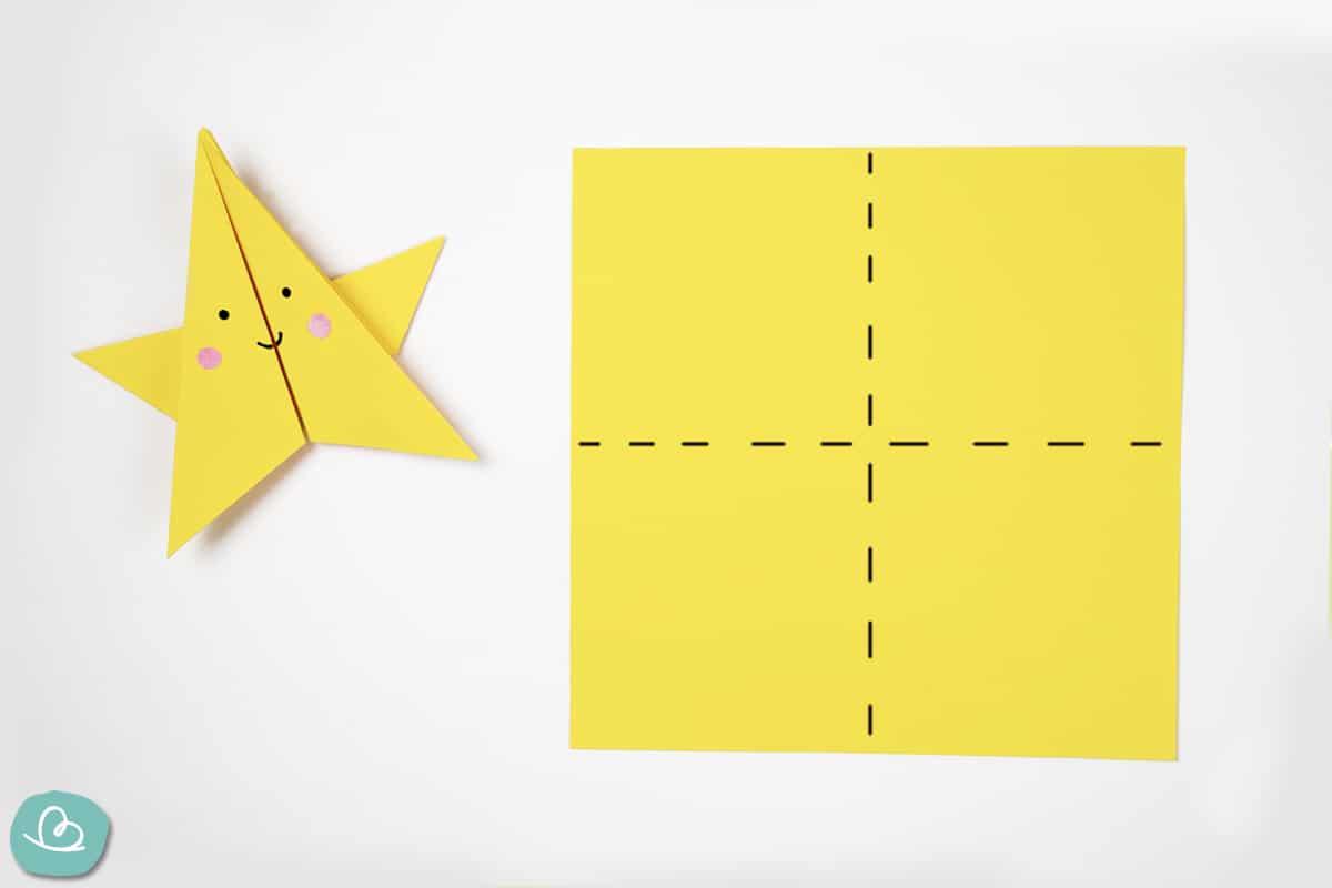 Faltmarkierung auf Origamipapier