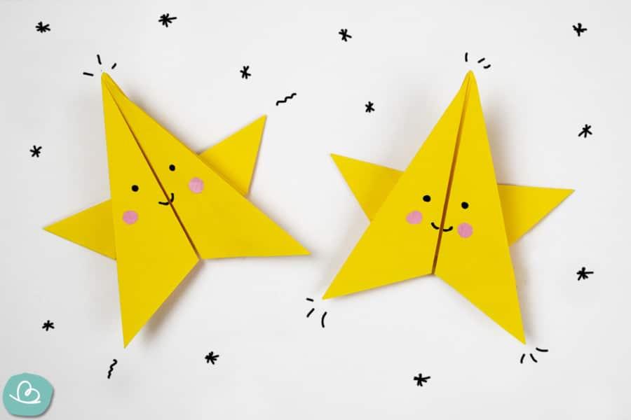 Faltanleitung: kleiner Stern aus Papier