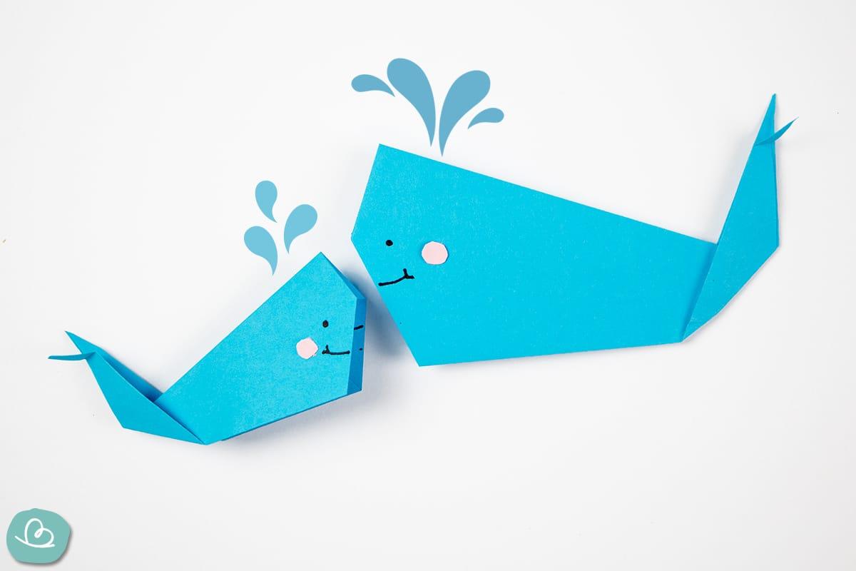Origami Wal Mama und Kind aus Papier