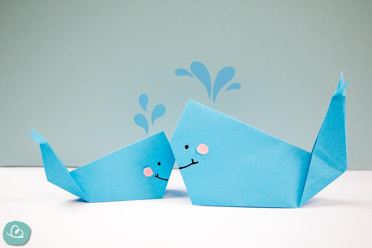 """Origami Wal """"Platsch"""" falten: einfache Anleitung"""