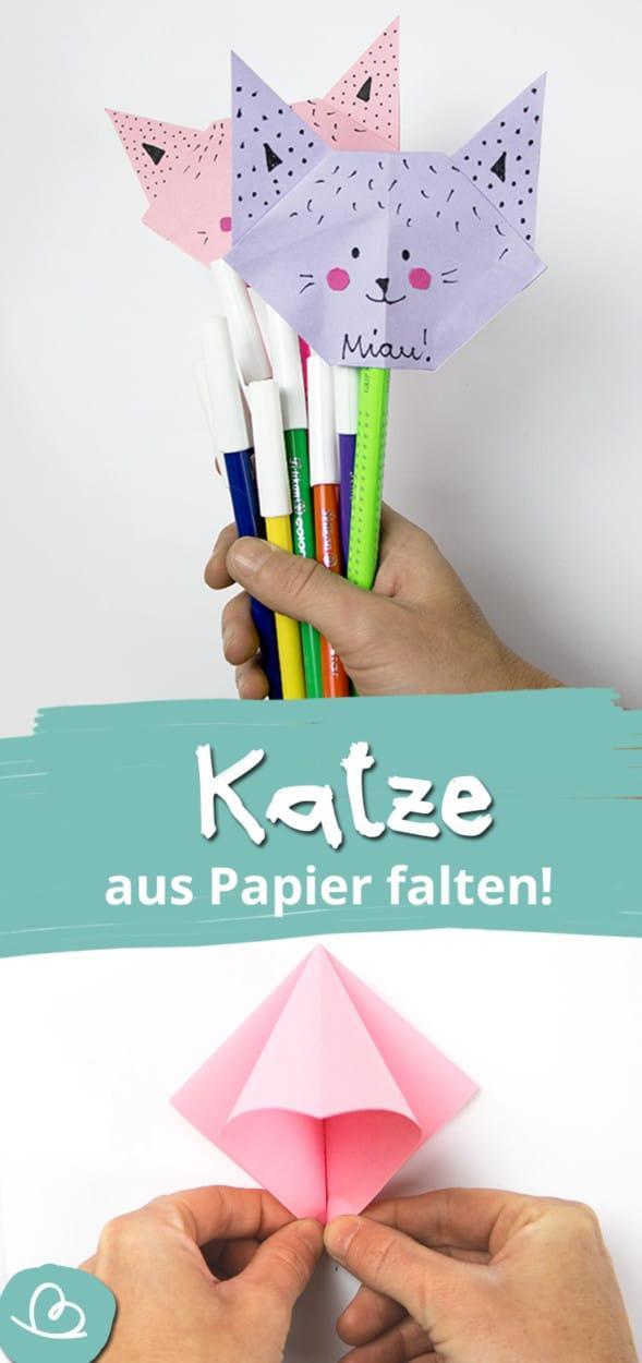 Katze aus Papier falten Pinterest