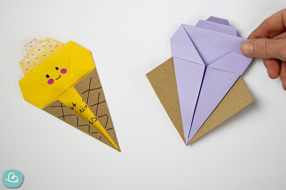 Eis und Waffel aus Papier basteln