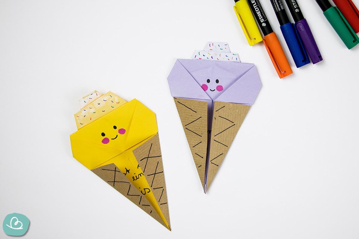 Eistüten aus Papier und bunte Stifte
