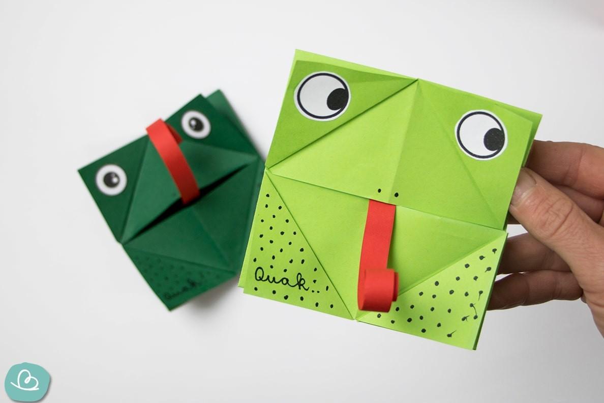 """Origami Frosch """"Qauk"""": Faltanleitung mit Vorlage"""