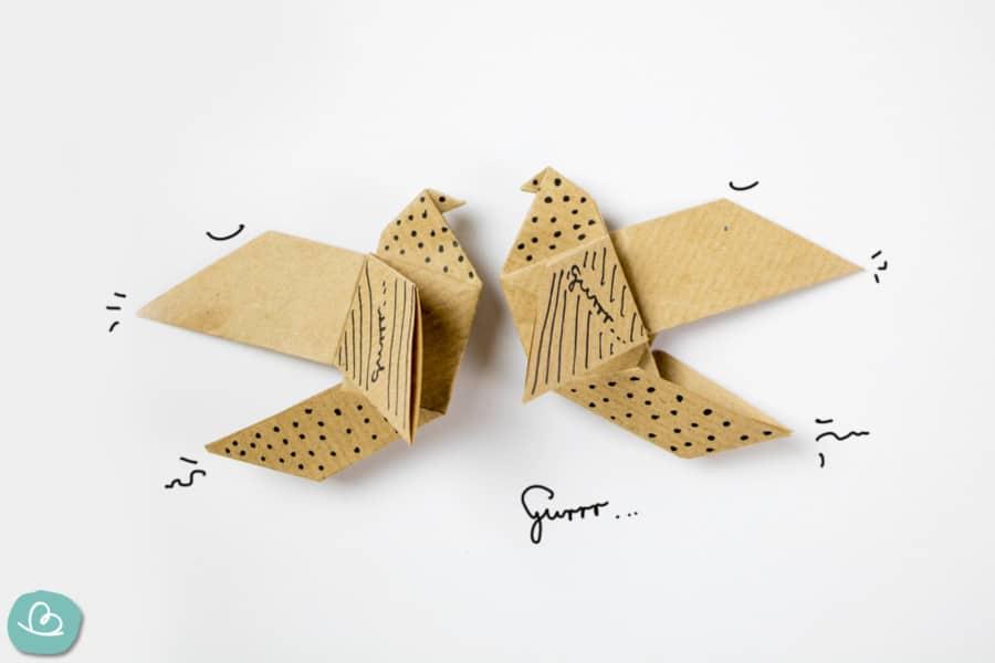 Origami-Taube 'Gurr' falten: easy Anleitung