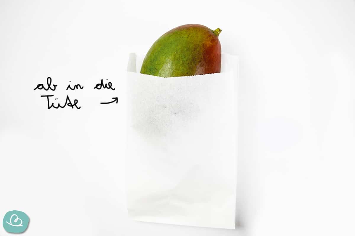 unreife Mango im Plastetüte nachreifen