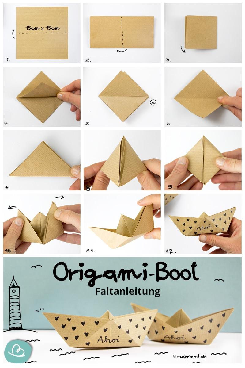 """Origami Boot """"Ahoi"""" Vorlage"""