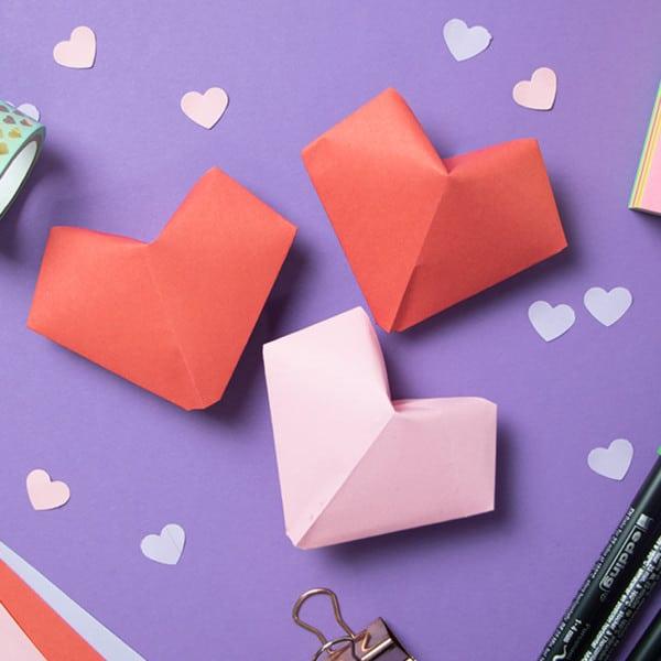Romantisches 3D-Herz basteln + Origami-Vorlage