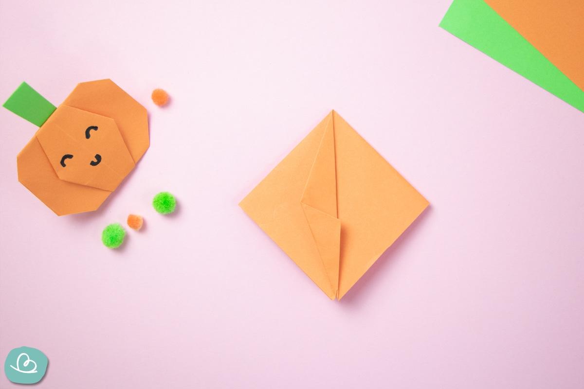 Bastelanleitung Origami Kürbis