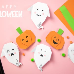 Halloween Origami einfache Faltanleitungen