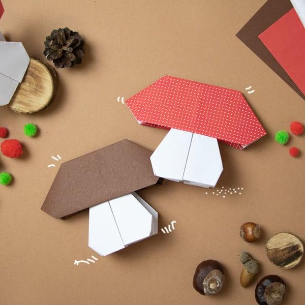 Pilz basteln aus Papier-einfache Origami Anleitung