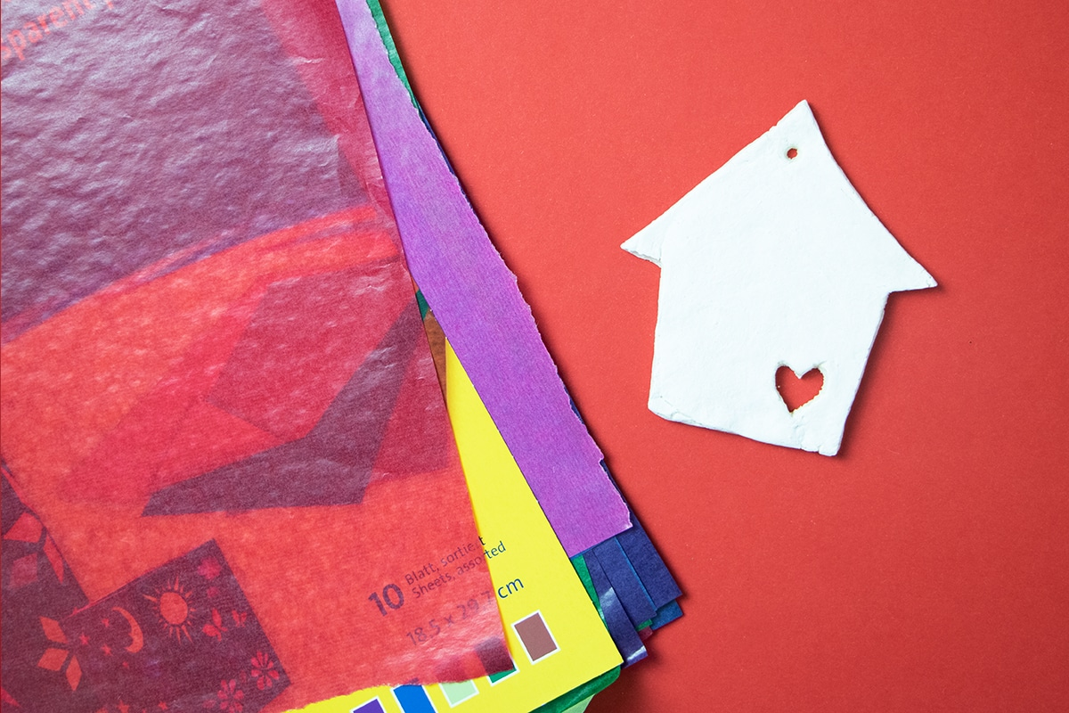 Salzteig Haus Transparentpapier