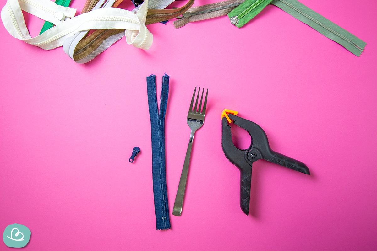 Werkzeug, Reißverschlüsse, Gabel.