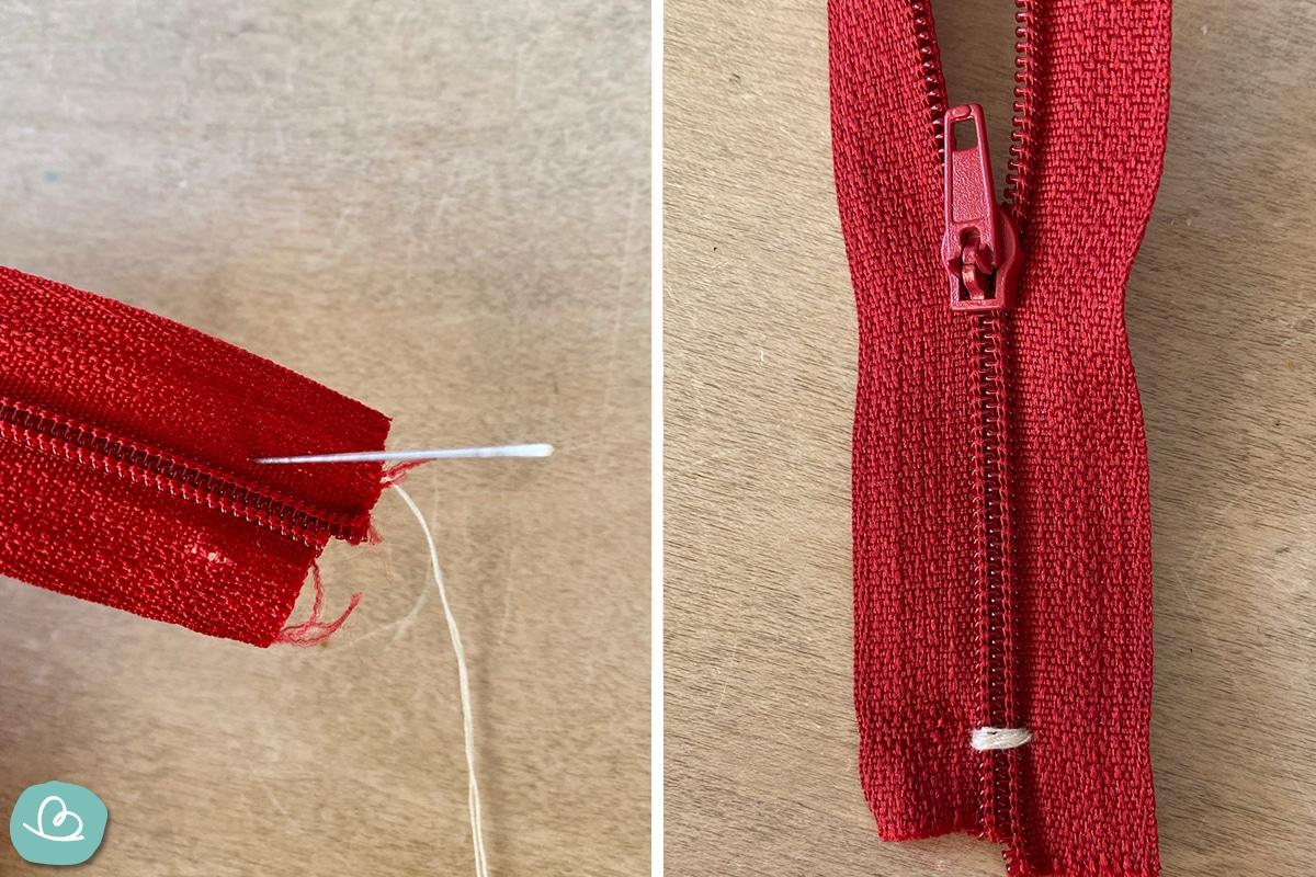 Zipper mit Nadel und Faden reparieren.