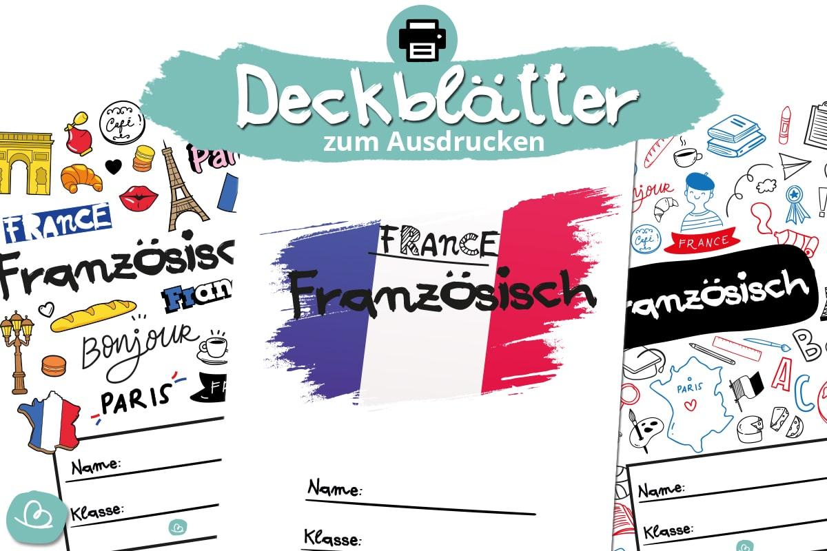 6 Deckblätter für Französisch zum Ausdrucken