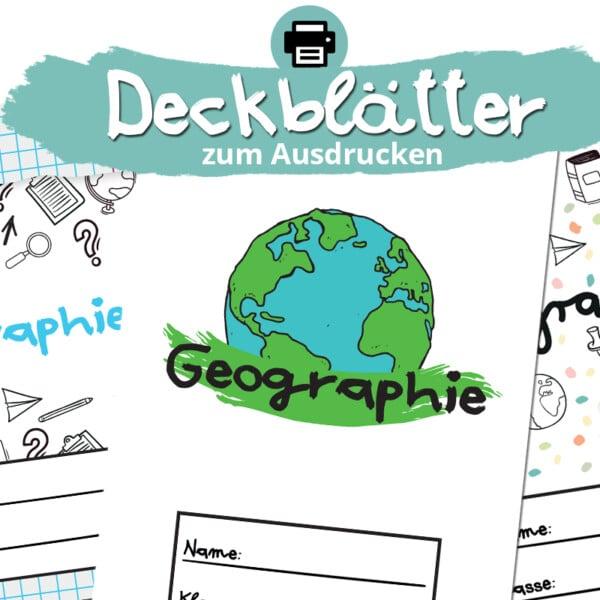 Deckblätter für Geographie zum Ausdrucken