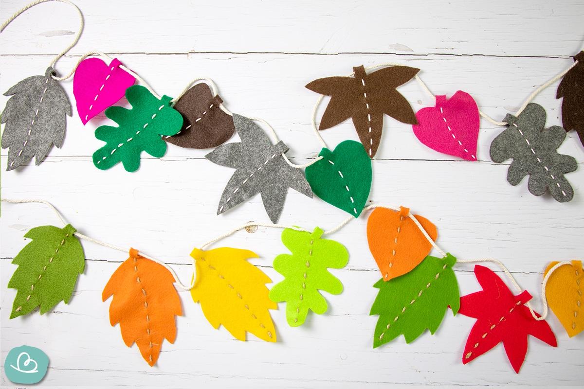Bunte Blätter aus Filz.